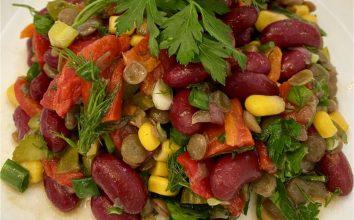 Meksika Fasulyeli Mercimekli Salata Tarifi