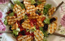 Hellim Peynirli Diyet Salata Tarifi